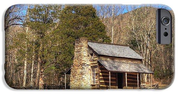 Mountain Cabin iPhone Cases - Smokey Mountain Cabin iPhone Case by Daniel Eskridge