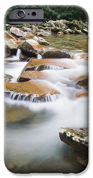 Smokey Mountains iPhone Cases - Smokey Mountain Creek iPhone Case by Adam Romanowicz