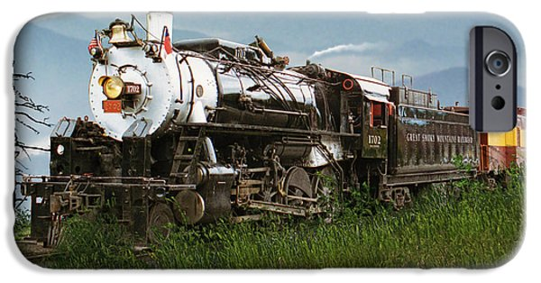 Smokey Mountains iPhone Cases - Smokey Mountain Railway Steam Locomotive iPhone Case by Randall Nyhof