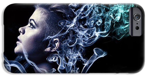 Digital Art Photographs iPhone Cases - Smoking iPhone Case by Samuel Whitton