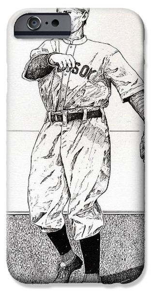 Red Sox Drawings iPhone Cases - Smoky Joe Wood iPhone Case by Ira Shander