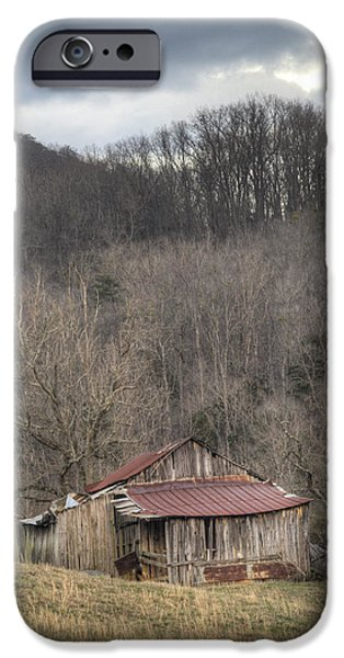 Tennessee Hay Bales iPhone Cases - Smoky Mountain Barn 1 iPhone Case by Douglas Barnett