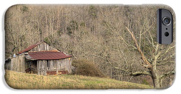 Tennessee Hay Bales iPhone Cases - Smoky Mountain Barn 10 iPhone Case by Douglas Barnett