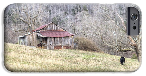 Tennessee Hay Bales iPhone Cases - Smoky Mountain Barn 2 iPhone Case by Douglas Barnett