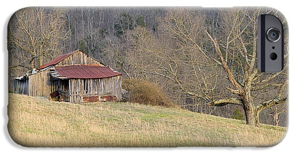 Tennessee Hay Bales iPhone Cases - Smoky Mountain Barn 5 iPhone Case by Douglas Barnett