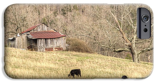 Tennessee Hay Bales iPhone Cases - Smoky Mountain Barn 6 iPhone Case by Douglas Barnett