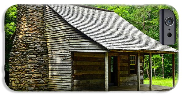 Mountain Cabin iPhone Cases - Smoky Mountain Cabin iPhone Case by Frozen in Time Fine Art Photography