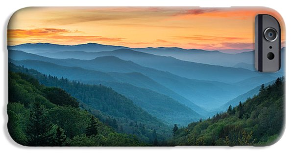 Sunset iPhone Cases - Smoky Mountains Sunrise - Great Smoky Mountains National Park iPhone Case by Dave Allen