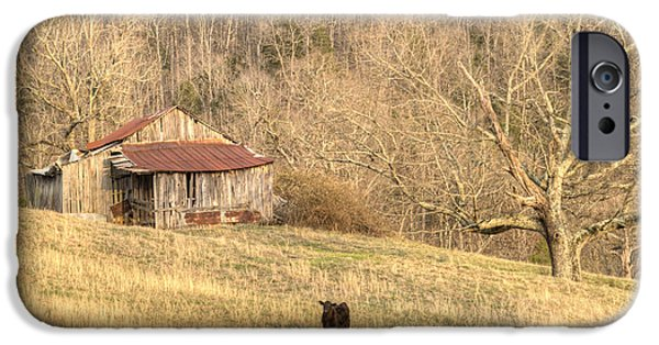 Tennessee Hay Bales iPhone Cases - Smoky Mountian Barn 7 iPhone Case by Douglas Barnett