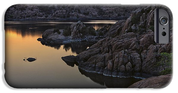 Prescott Arizona iPhone Cases - Smoky Sunset on Watson Lake iPhone Case by Dave Dilli