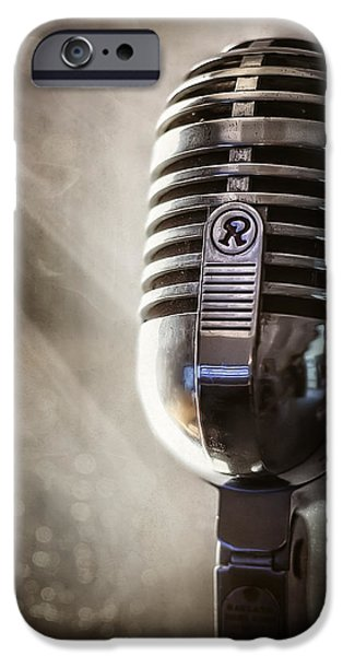 Broadcast iPhone Cases - Smoky Vintage Microphone iPhone Case by Scott Norris