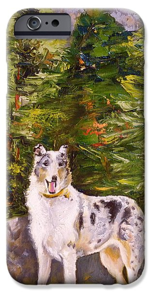 Colorado Drawings iPhone Cases - Smooth Collie Hiker iPhone Case by Susan A Becker