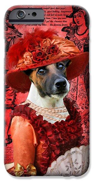 Fox Terrier iPhone Cases - Smooth Fox Terrier Art Canvas Print iPhone Case by Sandra Sij