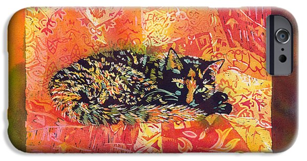 Poured Watercolours iPhone Cases - Smudge A Tortoiseshell Cat with border iPhone Case by Catherine Martha Holmes