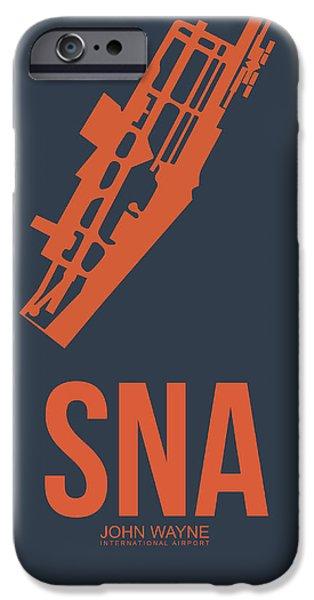 Orange County iPhone Cases - SNA Orange County Airport Poster 1 iPhone Case by Naxart Studio