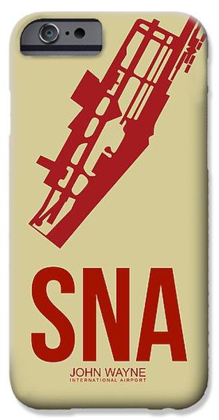 Orange County iPhone Cases - SNA Orange County Airport Poster 2 iPhone Case by Naxart Studio