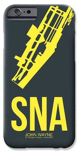 Orange County iPhone Cases - SNA Orange County Airport Poster 3 iPhone Case by Naxart Studio