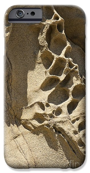Holes In Sandstone iPhone Cases - Snadstone rock Formations in Big Sur iPhone Case by Artist and Photographer Laura Wrede