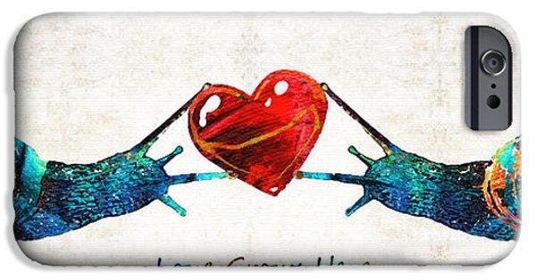 Garden iPhone Cases - Snail Art - Love Grows Here - By Sharon Cummings iPhone Case by Sharon Cummings
