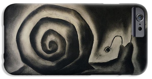 Rain Pastels iPhone Cases - Snail in a rainy day iPhone Case by Rosa Garcia Sanchez