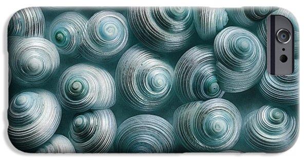 Sea Animals iPhone Cases - Snails Cyan iPhone Case by Priska Wettstein