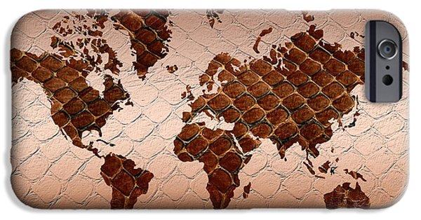 Different Worlds iPhone Cases - Snake Skin World Map iPhone Case by Zaira Dzhaubaeva