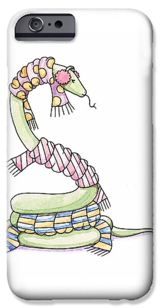 Reptiles Drawings iPhone Cases - Snake Wearing a Scarf iPhone Case by Christy Beckwith