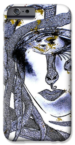 Archetype Paintings iPhone Cases - Snake Woman iPhone Case by Lady Picasso Tetka Rhu