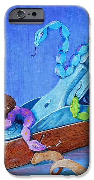 Snakes on a Plane iPhone Case by Tanja Ware
