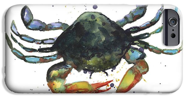 Creatures Paintings iPhone Cases - Snappy Crab iPhone Case by Alison Fennell