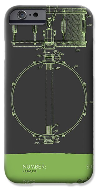 Drummer iPhone Cases - Snare Drum Patent from 1939 - Gray Green iPhone Case by Aged Pixel