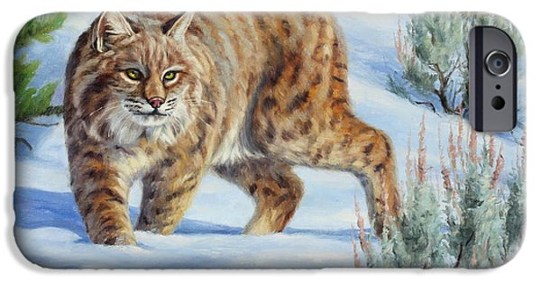 Bobcats Paintings iPhone Cases - Sneak Attack Bobcat iPhone Case by Cliff Rossberg
