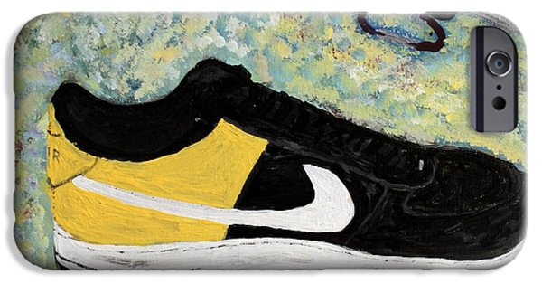 Nike Paintings iPhone Cases - Sneaker and Sportcars iPhone Case by Mark Stiles