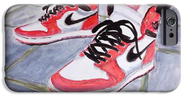 Nike Paintings iPhone Cases - Sneakers iPhone Case by Stan Tenney