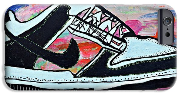 Nike Paintings iPhone Cases - Sneaks iPhone Case by Nicole Gavin