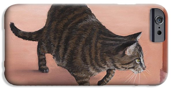 Animal Cards Pastels iPhone Cases - Sneaky iPhone Case by Anastasiya Malakhova