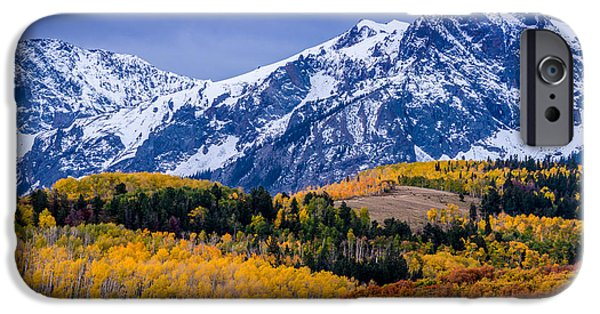 Winter Storm iPhone Cases - Sneffels Range Fall Sunrise - Dallas Divide - Colorado iPhone Case by Gary Whitton