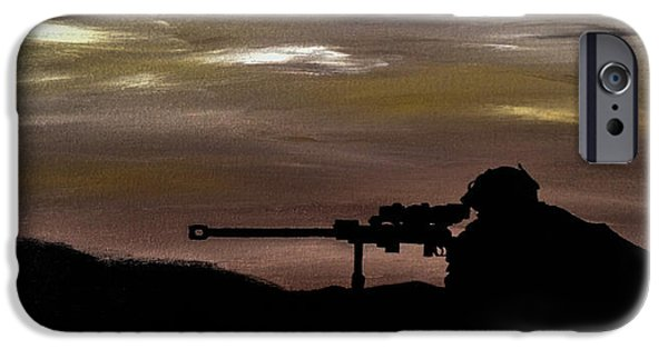Iraq Paintings iPhone Cases - Sniper iPhone Case by Jason ODell