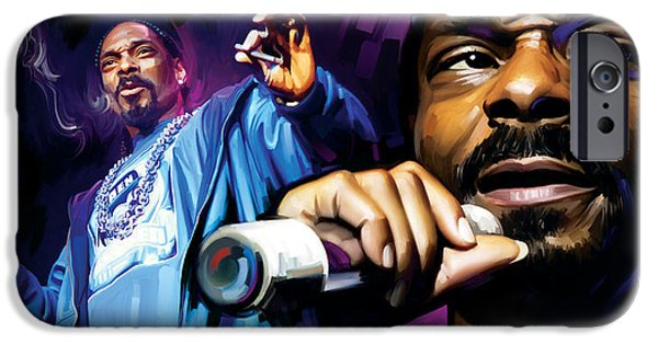 Hip-hop iPhone Cases - Snoop Dogg Artwork iPhone Case by Sheraz A