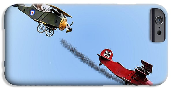 Sopwith Triplane iPhone Cases - Snoopy and the Red Baron iPhone Case by Kristin Elmquist