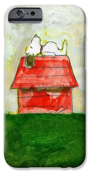 Doghouse iPhone Cases - Snoopy Asleep on Red Doghouse iPhone Case by David Lovins