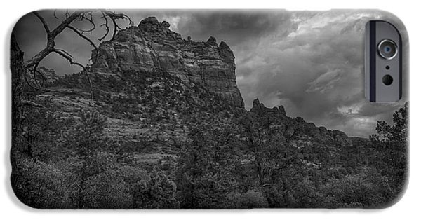Big Blue Marble iPhone Cases - Snoopy Mountain in Black and White iPhone Case by Kelly Gibson