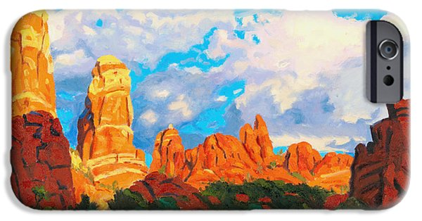 Sedona Paintings iPhone Cases - Snoopy Rock iPhone Case by Steve Simon