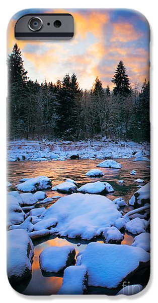 Drama iPhone Cases - Snoqualmie Falls Sunset iPhone Case by Inge Johnsson