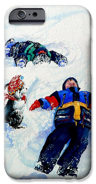 Dogs In Snow. Paintings iPhone Cases - Snow Angels iPhone Case by Hanne Lore Koehler