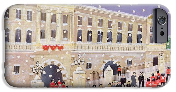 Police Christmas Card iPhone Cases - Snow at Buckingham Palace iPhone Case by William Cooper