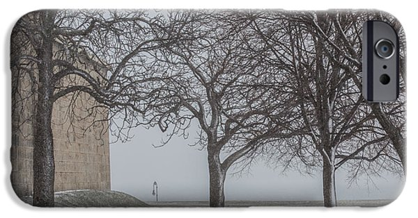 Snow iPhone Cases - Snow at Castle Island iPhone Case by Paul Treseler