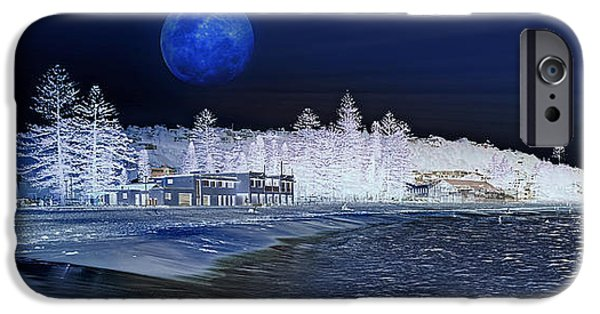 Pines iPhone Cases - Snow at Sydney Beach - Artistic Impression iPhone Case by Kaye Menner