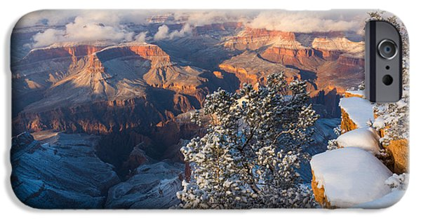 Grand Canyon iPhone Cases - Snow at the Grand Canyon iPhone Case by Adam Schallau