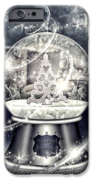 Christmas Greeting iPhone Cases - Snow Ball iPhone Case by Mo T